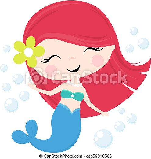 Cute Mermaid Girl Cute Little Mermaid Illustration Isolated On