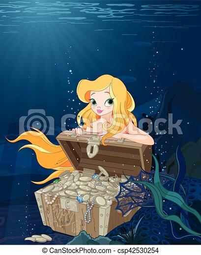 Cute Mermaid over a Treasure Chest - csp42530254