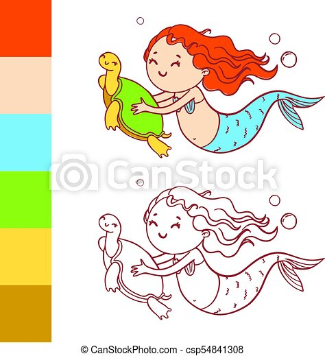 Cute Mermaid With Turtle Coloring Book Page With Example For Children