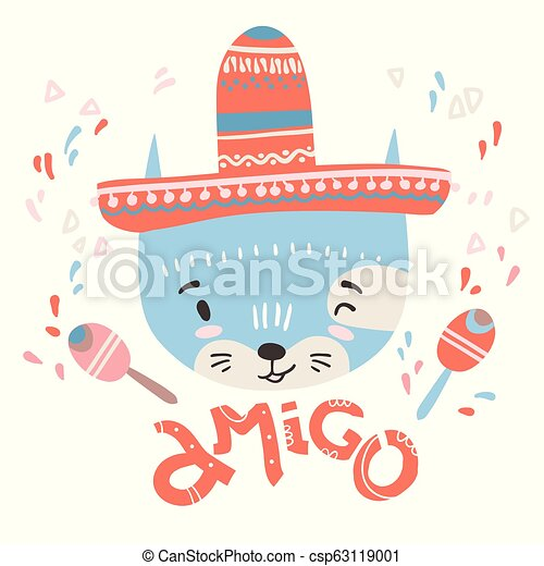 Cute mexican baby cat. Hand drawn vector illustration. For kid's - csp63119001