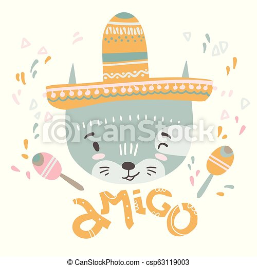 Cute mexican baby cat. Hand drawn vector illustration. For kid's - csp63119003