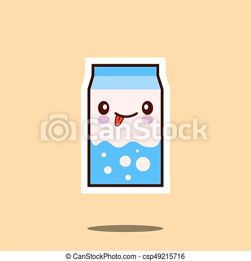 Cute milk box icon kawaii container with smiley face - csp49215716