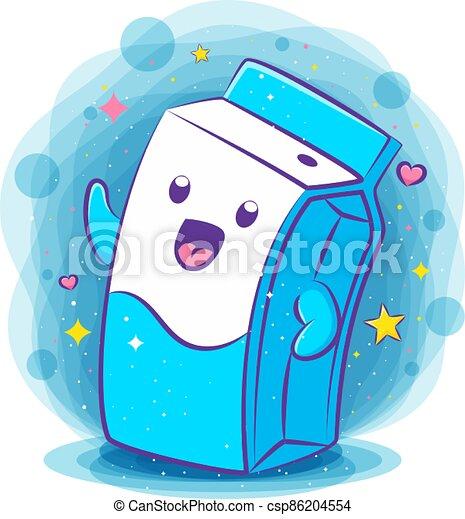 Cute milk box kawaii character - csp86204554