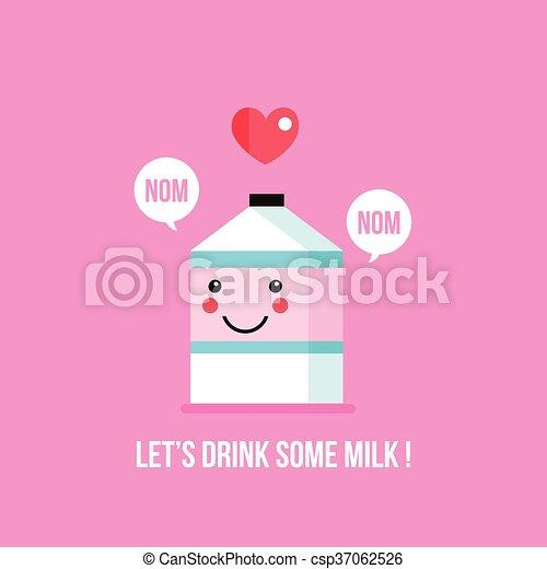 Cute milk carton cartoon character with smile face Kawaii background - csp37062526