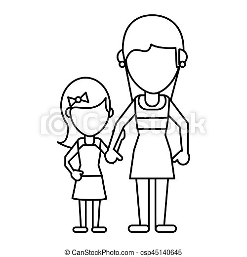 Cute Mom With Daughter Thin Line Vector Illustration Eps 10