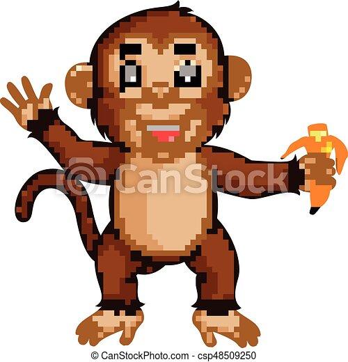 Cute monkey cartoon eating banana - csp48509250