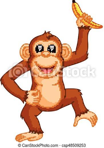 Cute monkey cartoon eating banana - csp48509253