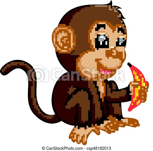 Cute monkey cartoon eating banana - csp48182013