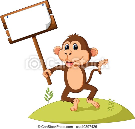 cute monkey cartoon - csp40397426