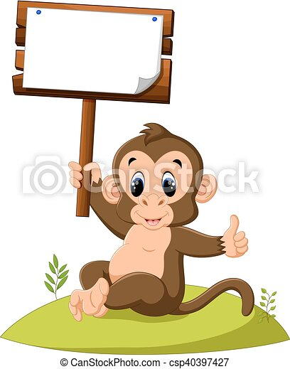 cute monkey cartoon - csp40397427