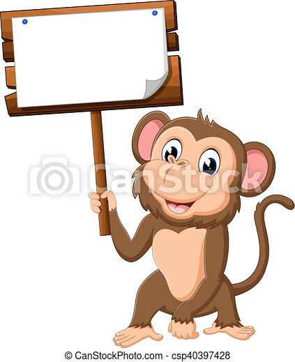 cute monkey cartoon - csp40397428