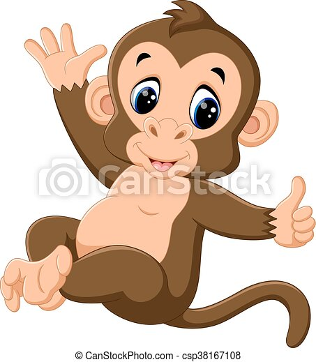 cute monkey cartoon - csp38167108