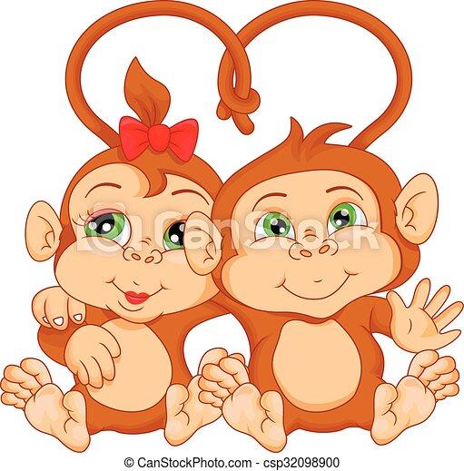cute monkey couple cartoon - csp32098900