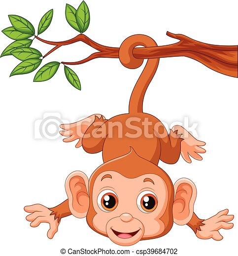 Cute monkey hangin on a tree - csp39684702