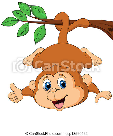 Cute monkey hanging on a tree branc - csp13560482