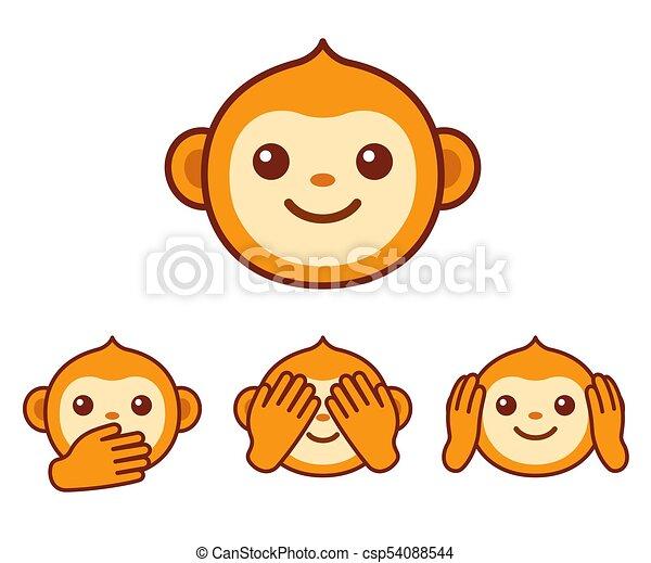 Cute Monkey Icons Cute Cartoon Monkey Face Icon Three Wise Monkeys