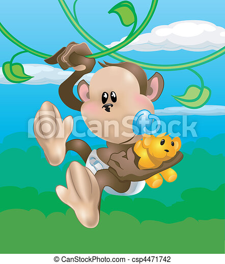 cute monkey illustration - csp4471742