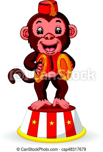 cute monkey playing percussion hand cymbals - csp48317679