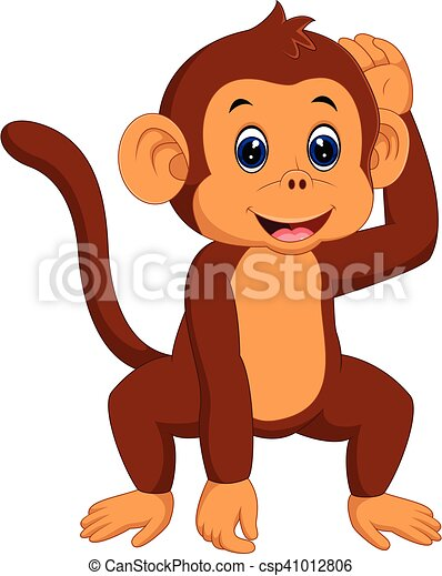 illustration of cute monkey cartoon vector clipart search rh canstockphoto com monkey vector png monkey vector logo