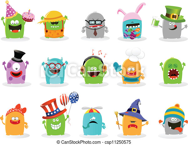 cute monster set collection of cute little monsters