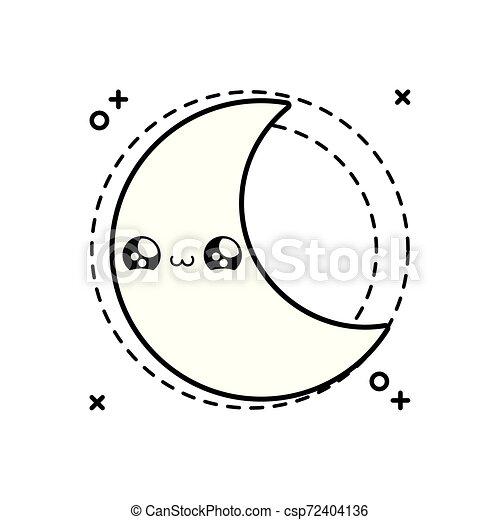 cute moon in frame circular kawaii style icon - csp72404136