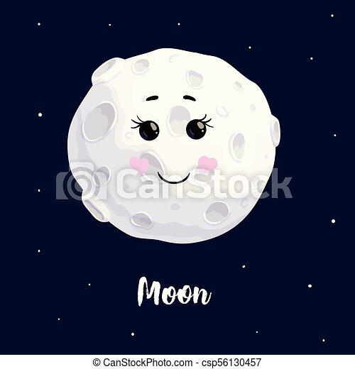 Cute moon kawaii character smile open eyes vector ...