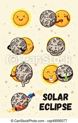 Cute moon practice of yoga. Solar eclipse in phases - csp49595077