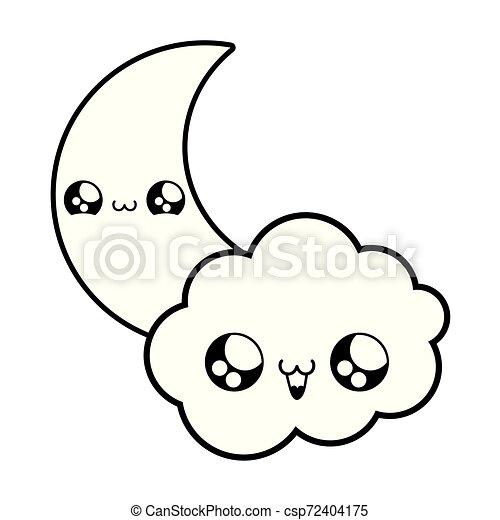cute moon with cloud kawaii style - csp72404175