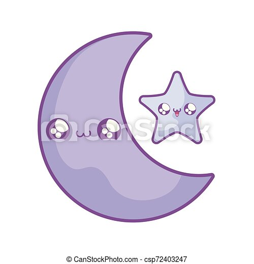 cute moon with star kawaii style - csp72403247