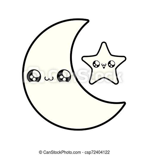 cute moon with star kawaii style - csp72404122