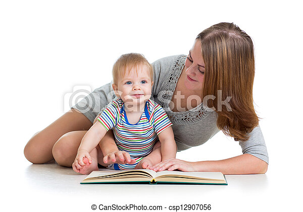 cute mother reading a book to her kid boy - csp12907056