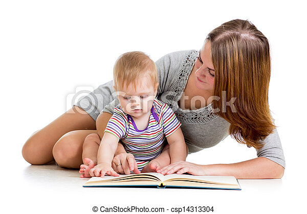 cute mother reading a book to her kid boy - csp14313304