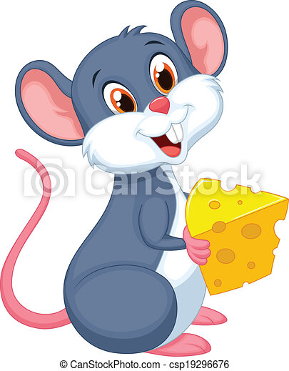 Cute mouse cartoon holding a piece  - csp19296676