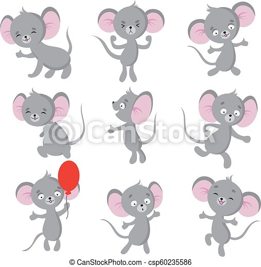 cute mouse cartoon mice in house vector isolated characters mouse