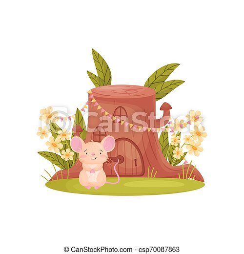 Cute mouse sits near his house in the form of a stump. Vector illustration on white background. - csp70087863