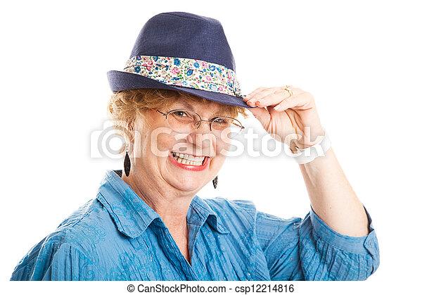cute, mulher, meio, sugestões, envelhecido, chapéu - csp12214816