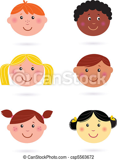 cute, multicultural, crianças, cabeças - csp5563672