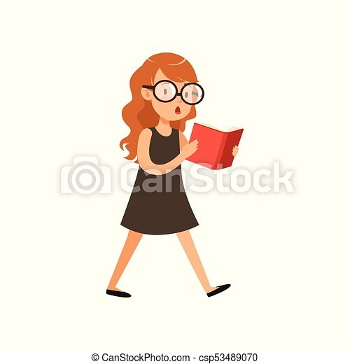 Cute Nerd Girl Walking And Reading Book Pupil With Interested Face Expression In Black Dress