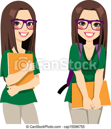 cute nerdy girl student cute teenage girl student with clipart rh canstockphoto com girl student thinking clipart girl student clipart