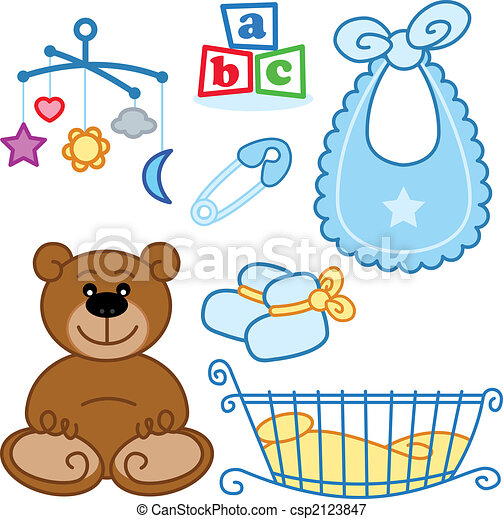 Cute New born baby toys graphic elements. - csp2123847