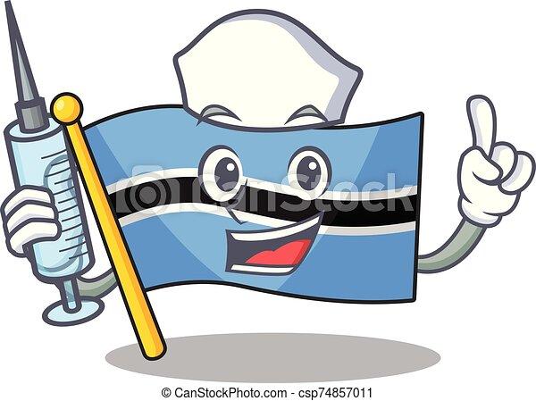 Cute nurse flag botswana character cartoon style with syringe - csp74857011