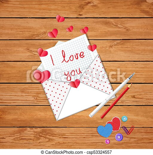 Letter And Text I Love You Fountain Pen Red Pencil Paper Hearts Scattered On Rustic Vintage Table Background Vector Illustration Greeting Card