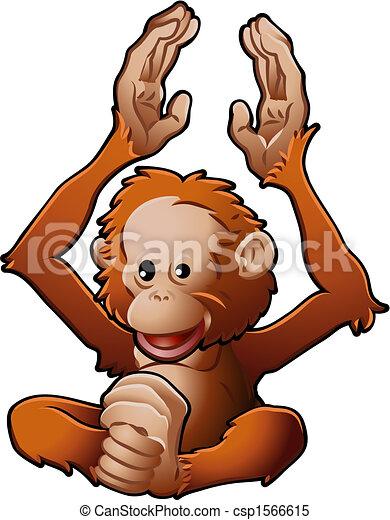 Cute Orang-utan Vector Illustration - csp1566615