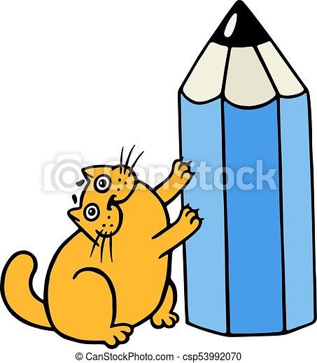 cute orange fat cat hugging blue pencil funny cartoon vectors rh canstockphoto ie fat cat clipart black and white fat cat clipart free