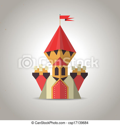 Cute origami castle from folded paper. Icon. - csp17139684