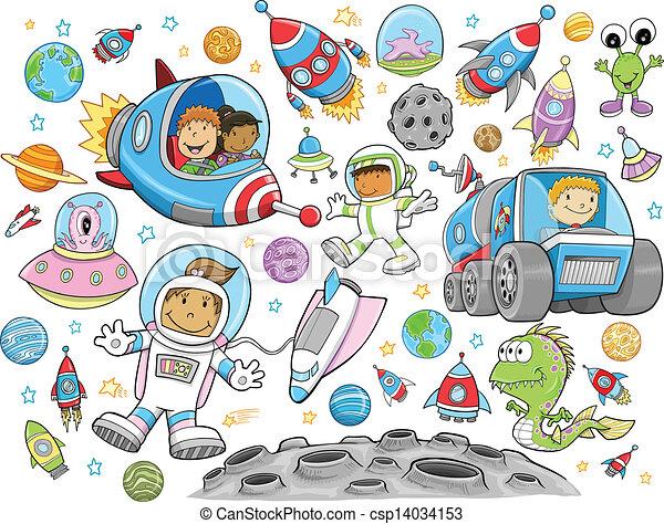 Cute Outer Space Vector set - csp14034153