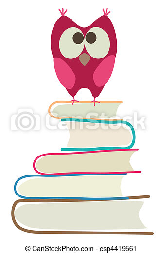 cute owl and books - csp4419561
