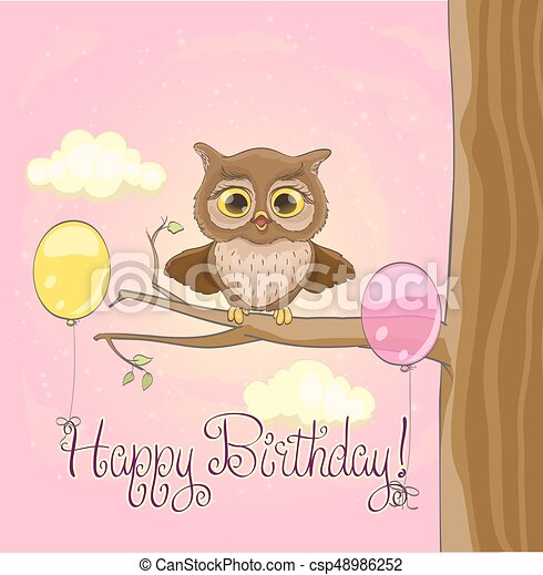 Cute Owl Balloons Pink Sky And Clouds Happy Birthday Greeting Cartoon Template