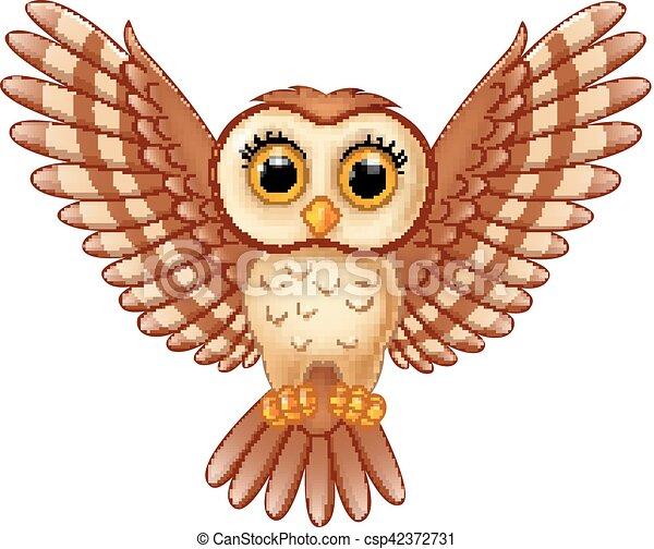 vector illustration of cute owl cartoon flying