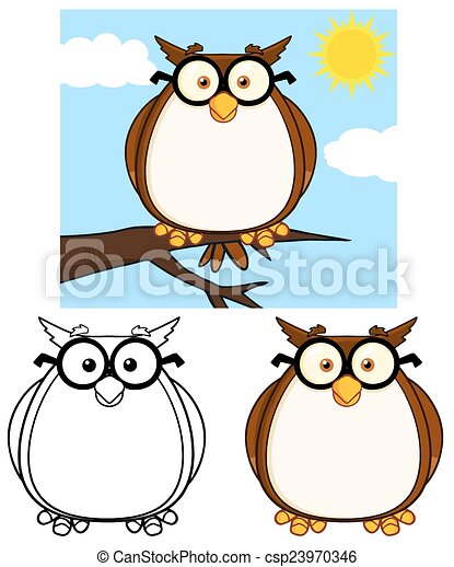 Cute Owl Character 1. Collection  - csp23970346